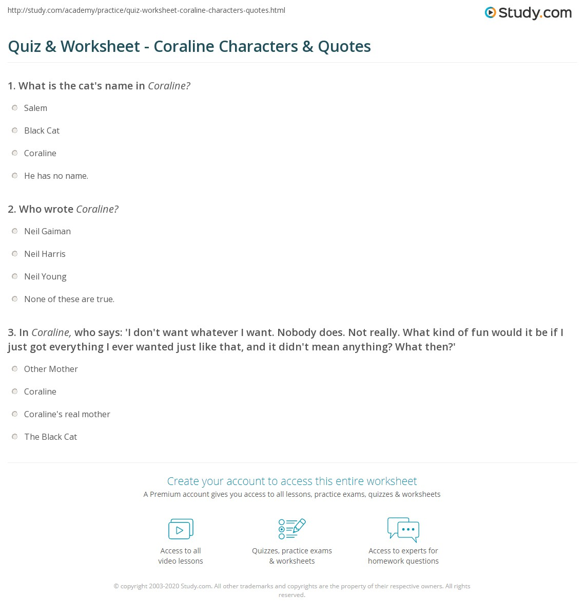 Quiz Worksheet Coraline Characters Quotes Study Com
