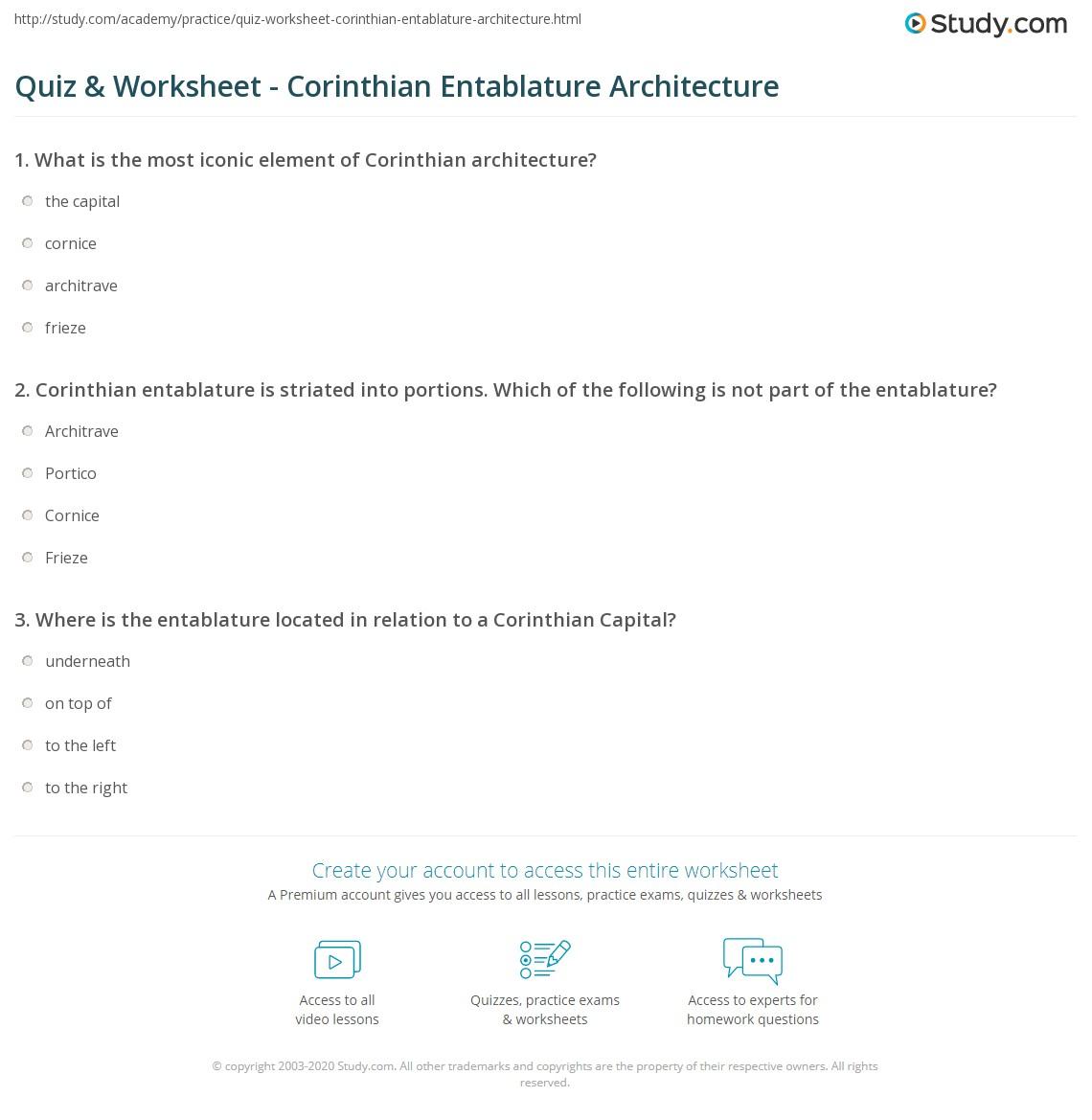 Print Corinthian Entablature Definition Architecture Worksheet