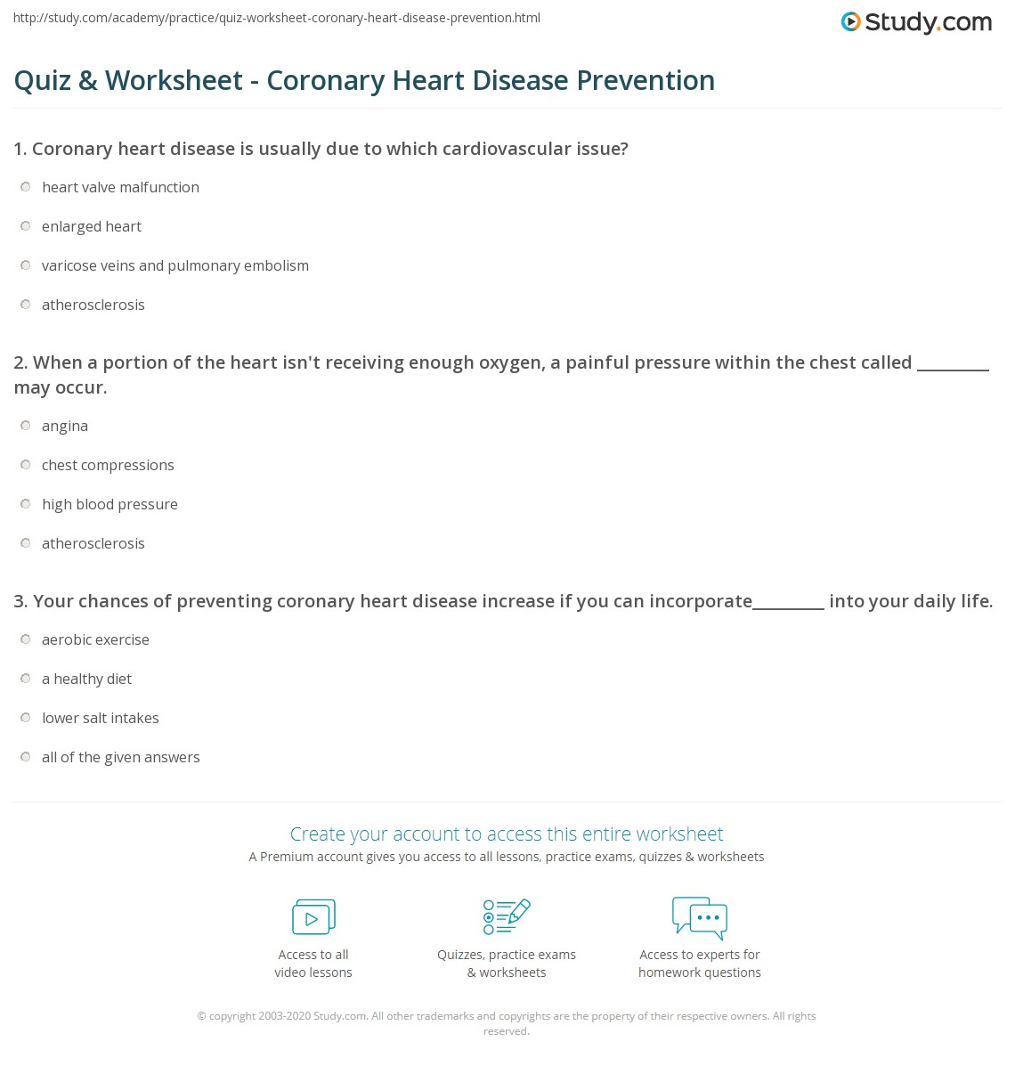 quiz & worksheet - coronary heart disease prevention | study