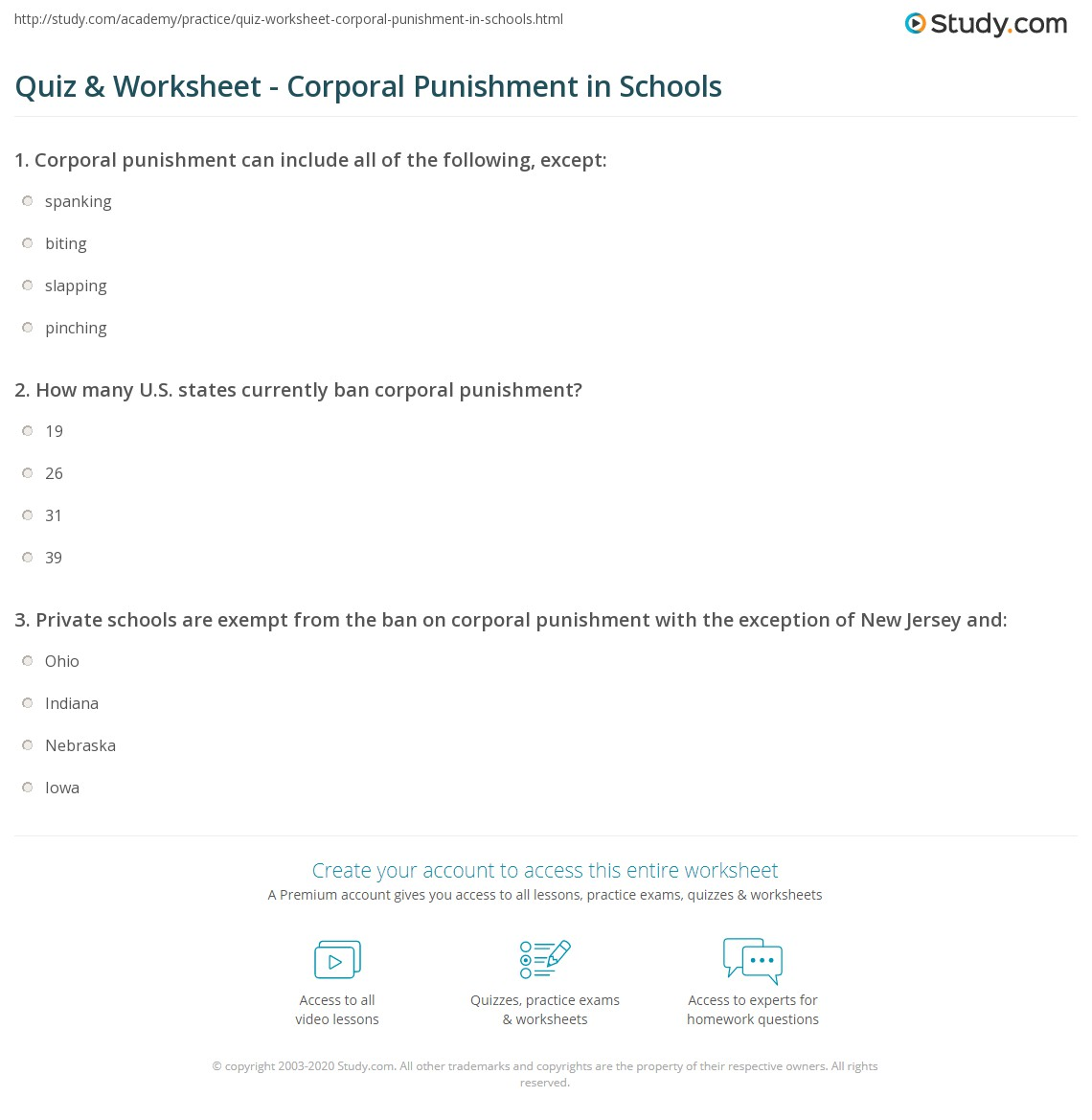 quiz worksheet corporal punishment in schools com print corporal punishment in schools definition consequences worksheet