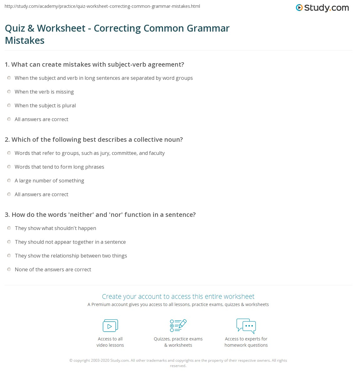 Printables Correcting Grammar Worksheets quiz worksheet correcting common grammar mistakes study com print examples correction worksheet