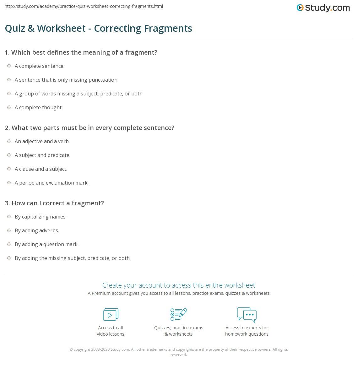 Quiz Amp Worksheet Correcting Fragments Study Com