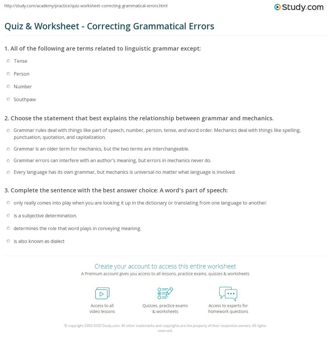 Quiz Worksheet Correcting Grammatical Errors Study