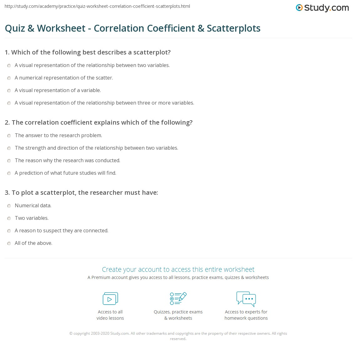 Quiz Worksheet Correlation Coefficient Scatterplots Study