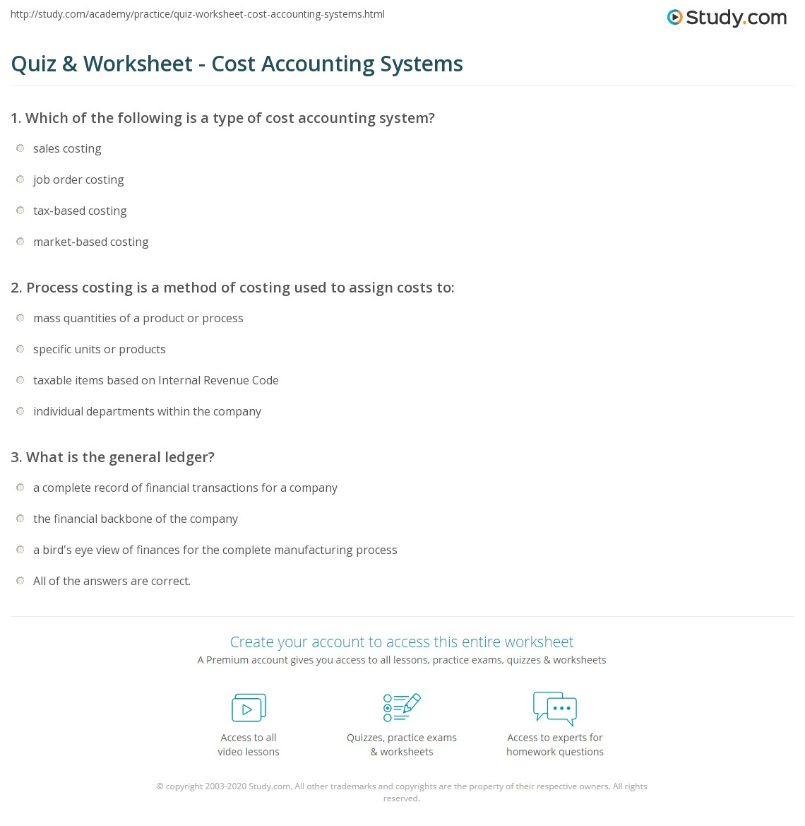Quiz & Worksheet - Cost Accounting Systems | Study.com