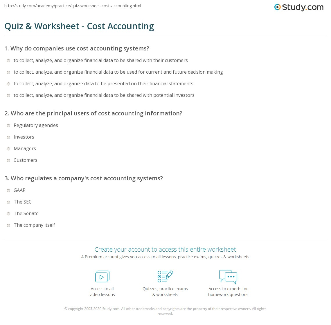 Quiz Worksheet Cost Accounting Study Com