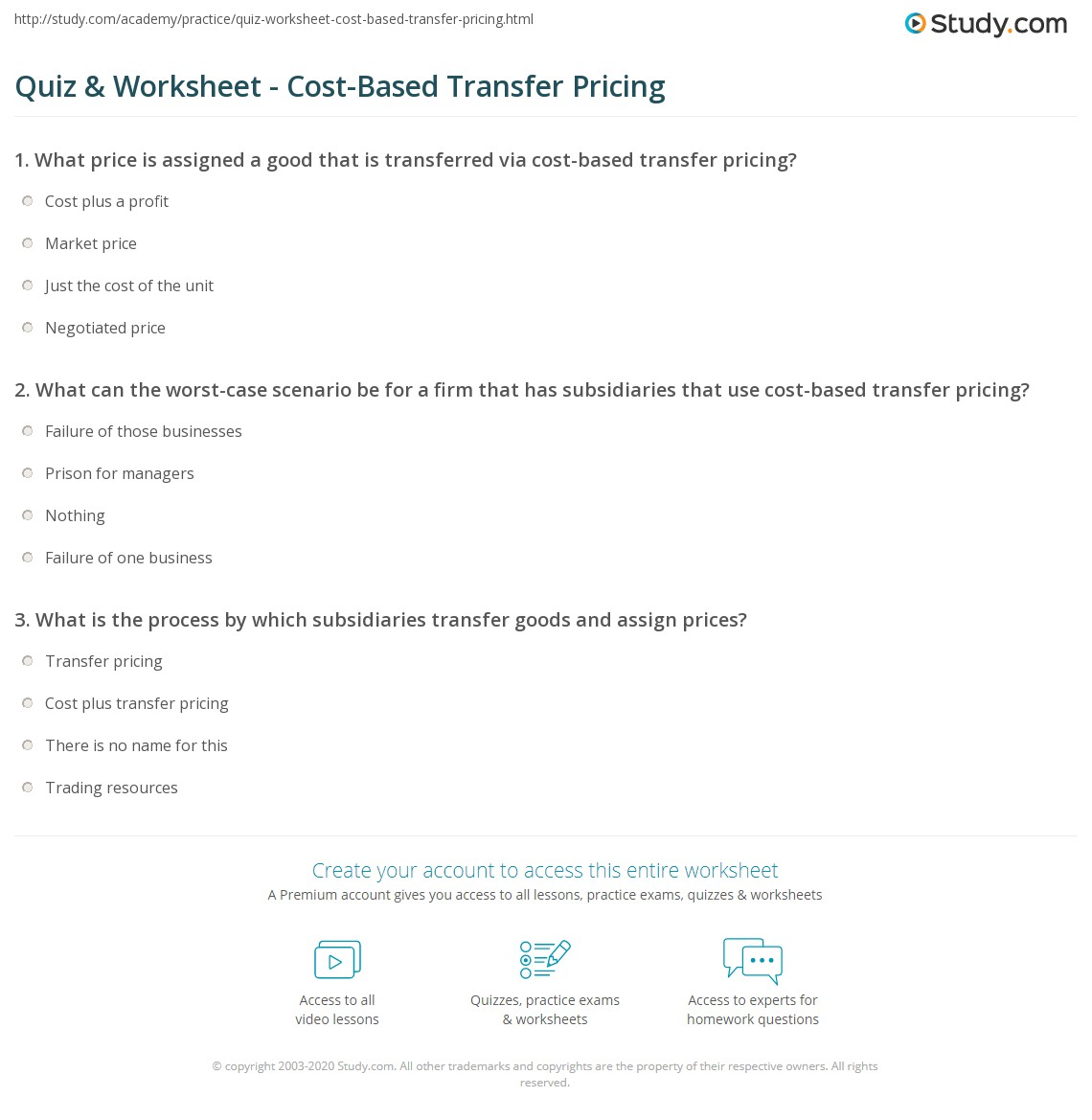 quiz & worksheet - cost-based transfer pricing | study