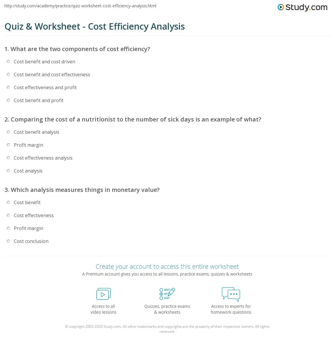 Quiz Worksheet Cost Efficiency Analysis Study