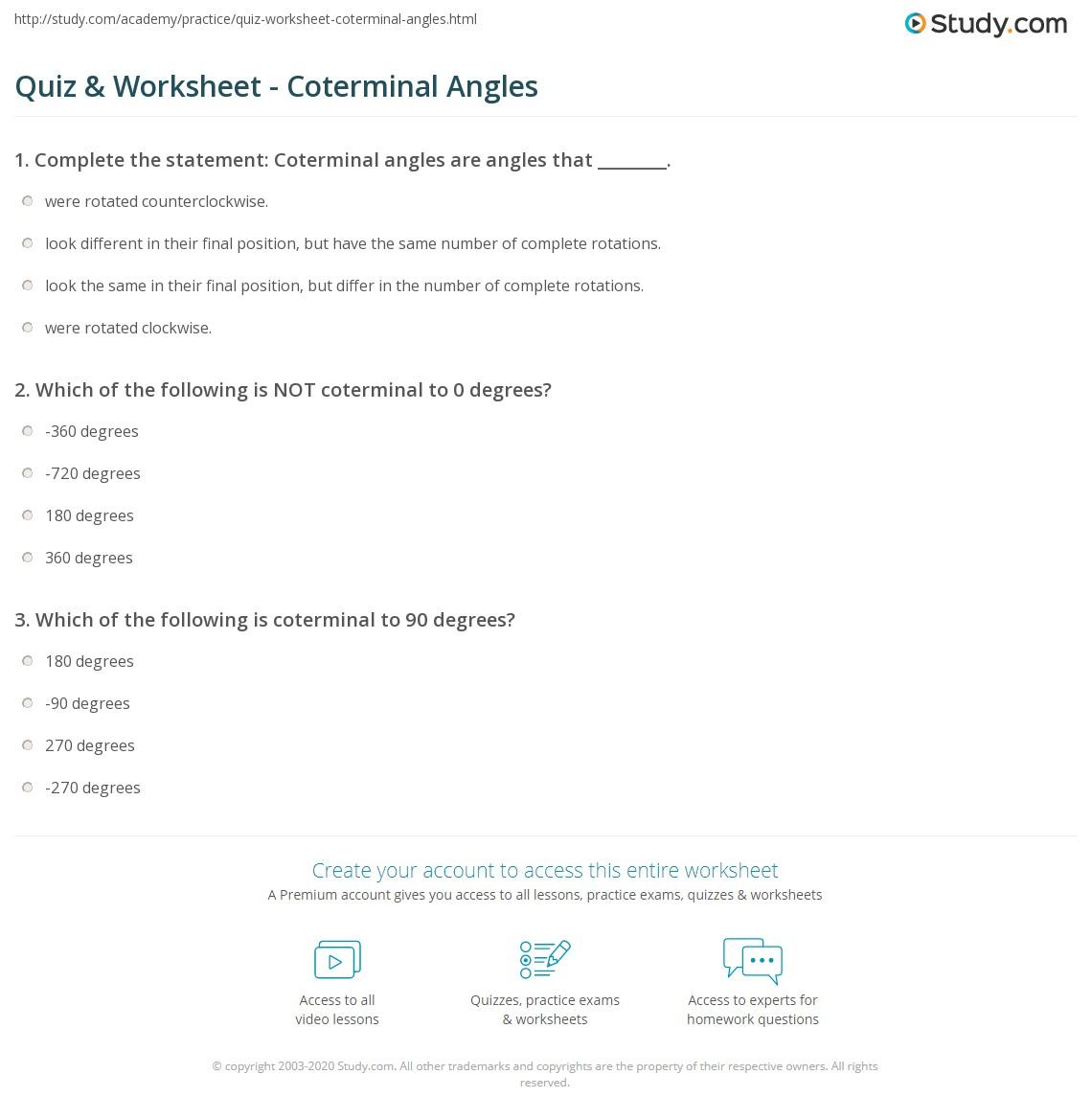 Quiz Worksheet Coterminal Angles Study Com