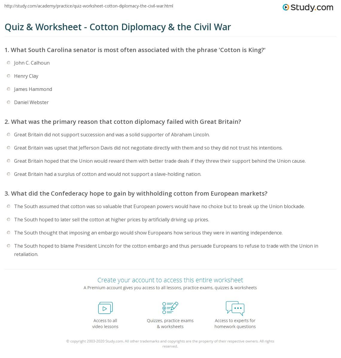 Uncategorized Civil War Worksheet quiz worksheet cotton diplomacy the civil war study com print king worksheet