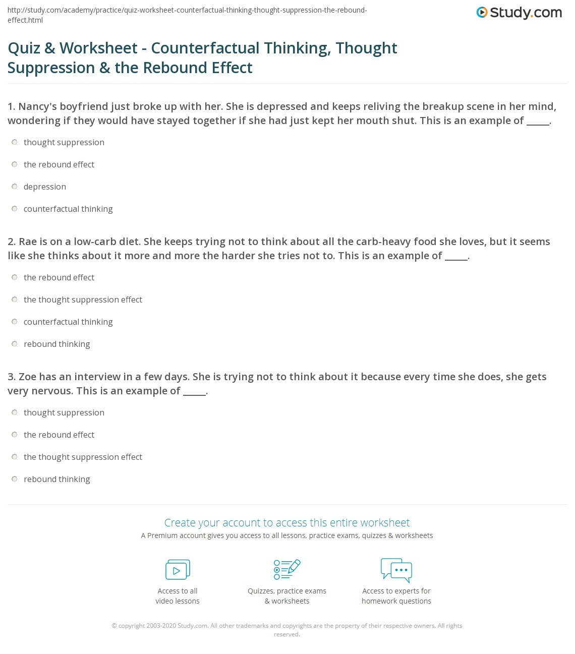 quiz worksheet counterfactual thinking thought suppression  print counterfactual thinking thought suppression the rebound effect worksheet