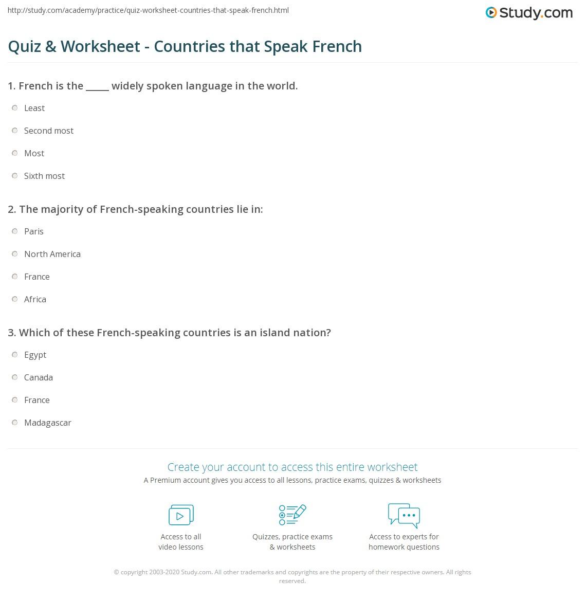 quiz worksheet countries that speak french. Black Bedroom Furniture Sets. Home Design Ideas