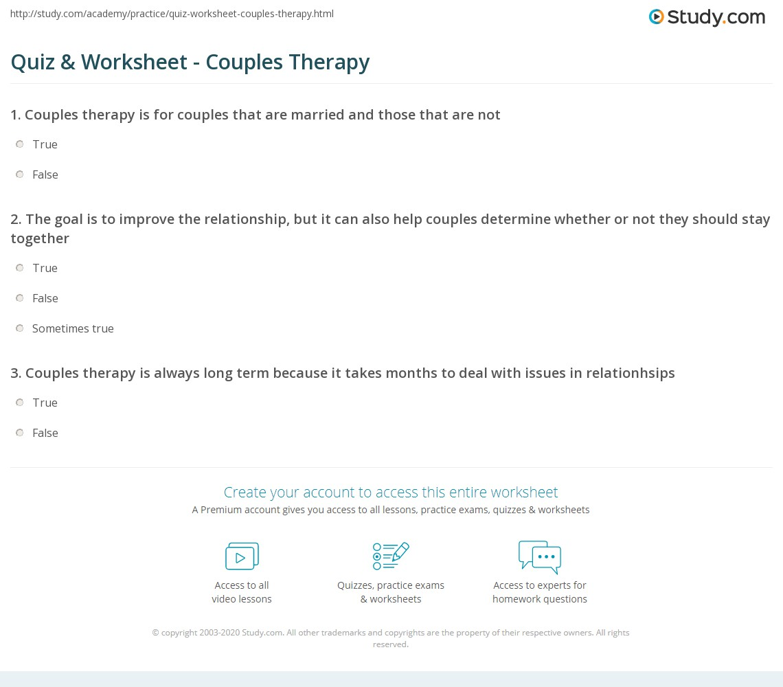 Quiz  Worksheet  Couples Therapy  Study.com