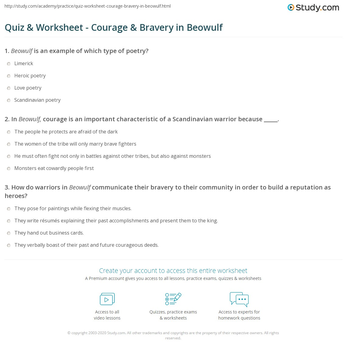 Worksheets Courage Worksheets quiz worksheet courage bravery in beowulf study com print worksheet