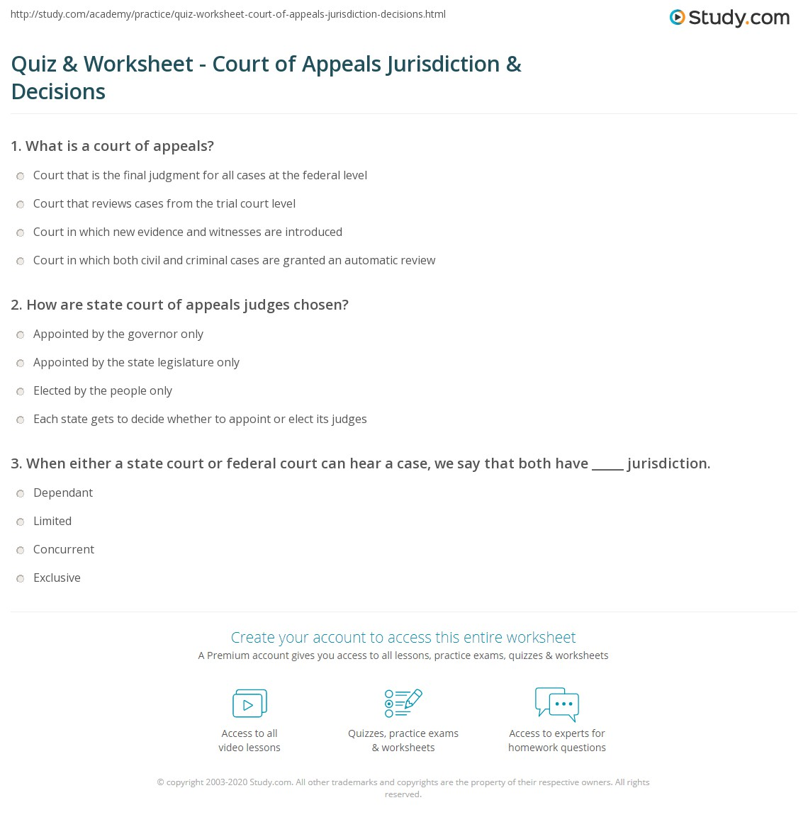 quiz & worksheet - court of appeals jurisdiction & decisions | study