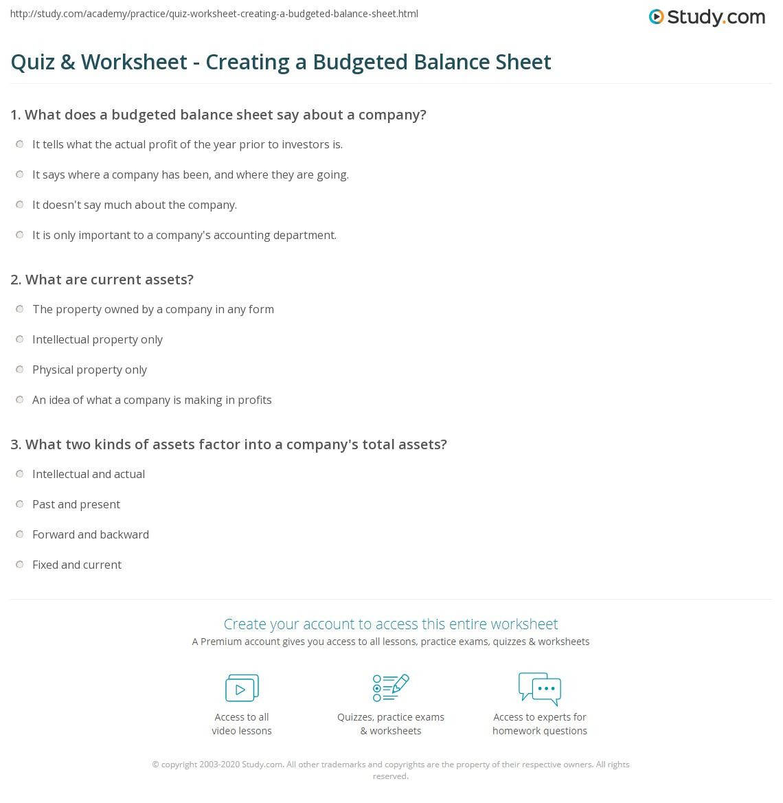 quiz worksheet creating a budgeted balance sheet study com