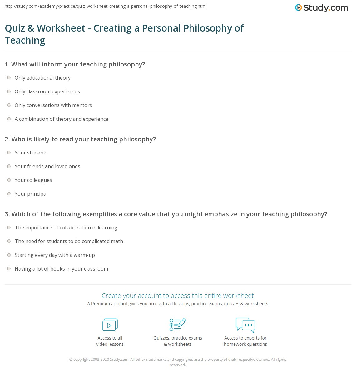 Quiz Worksheet Creating A Personal Philosophy Of Teaching