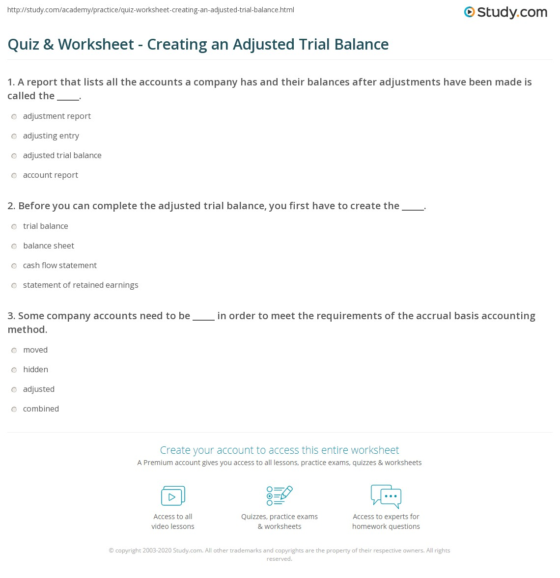 quiz worksheet creating an adjusted trial balance. Black Bedroom Furniture Sets. Home Design Ideas