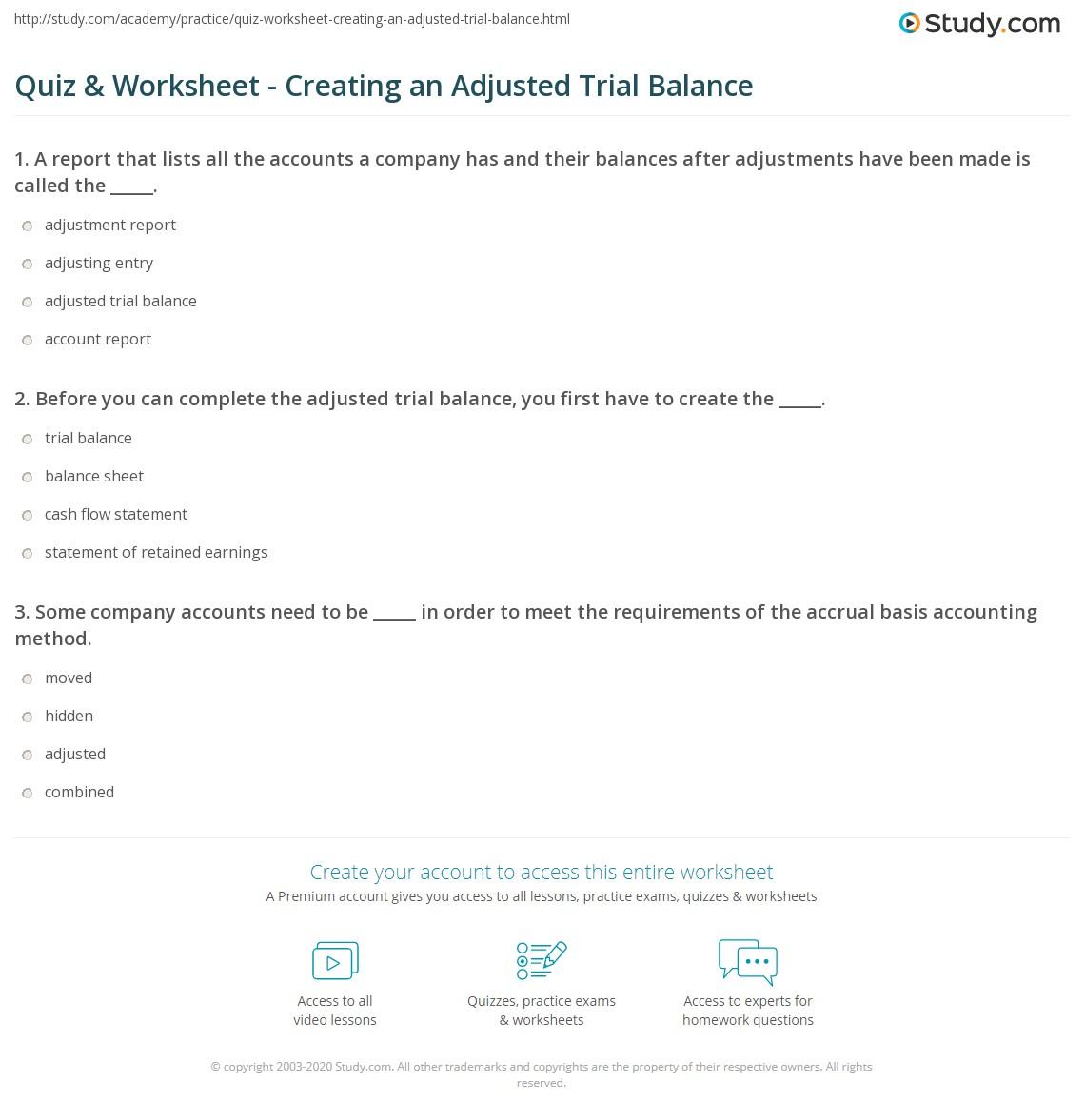Quiz Worksheet Creating an Adjusted Trial Balance – Trial Balance Worksheet