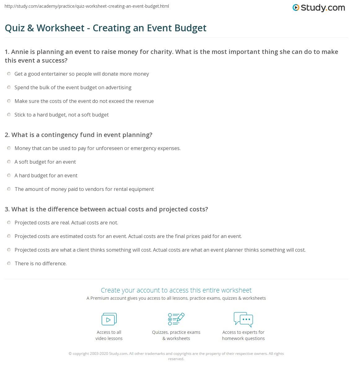 quiz worksheet creating an event budget study com