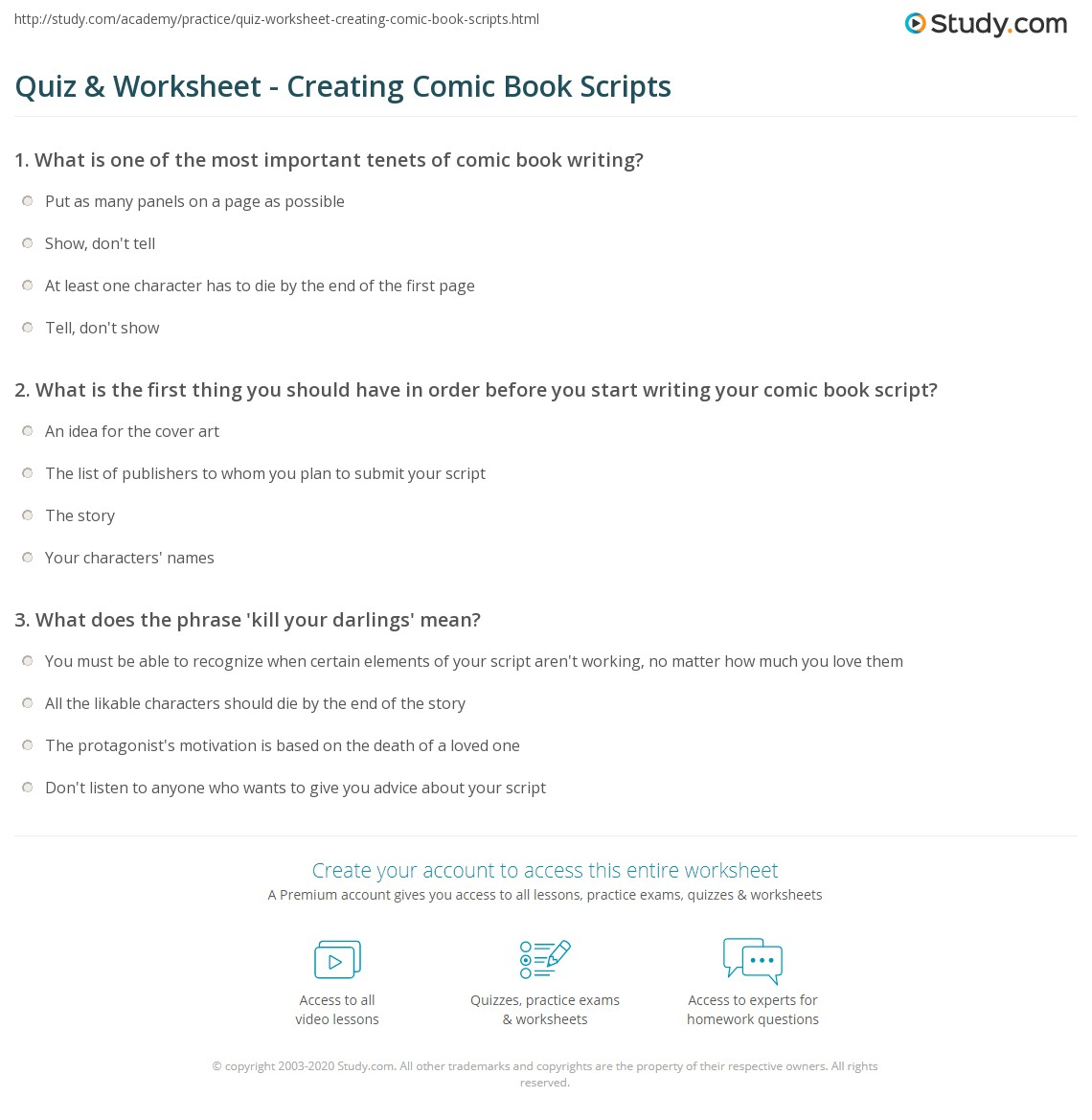 Worksheets Script Worksheets quiz worksheet creating comic book scripts study com print how to write a script worksheet