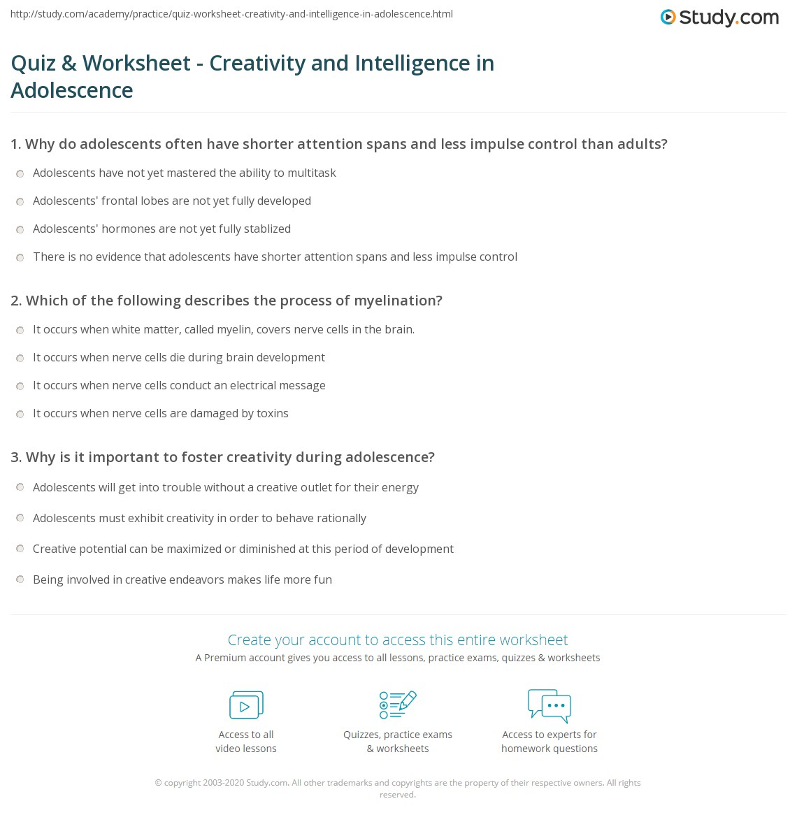 Quiz Worksheet Creativity And Intelligence In Adolescence