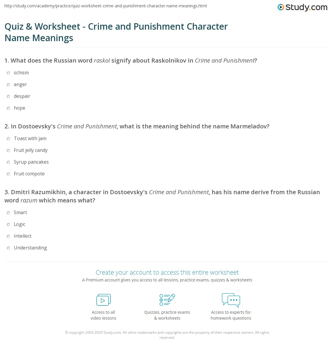 Quiz worksheet crime and punishment character name meanings in dostoevskys crime and punishment what is the meaning behind the name marmeladov 1betcityfo Images
