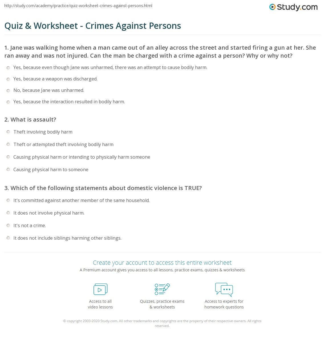 Quiz Worksheet Crimes Against Persons Study