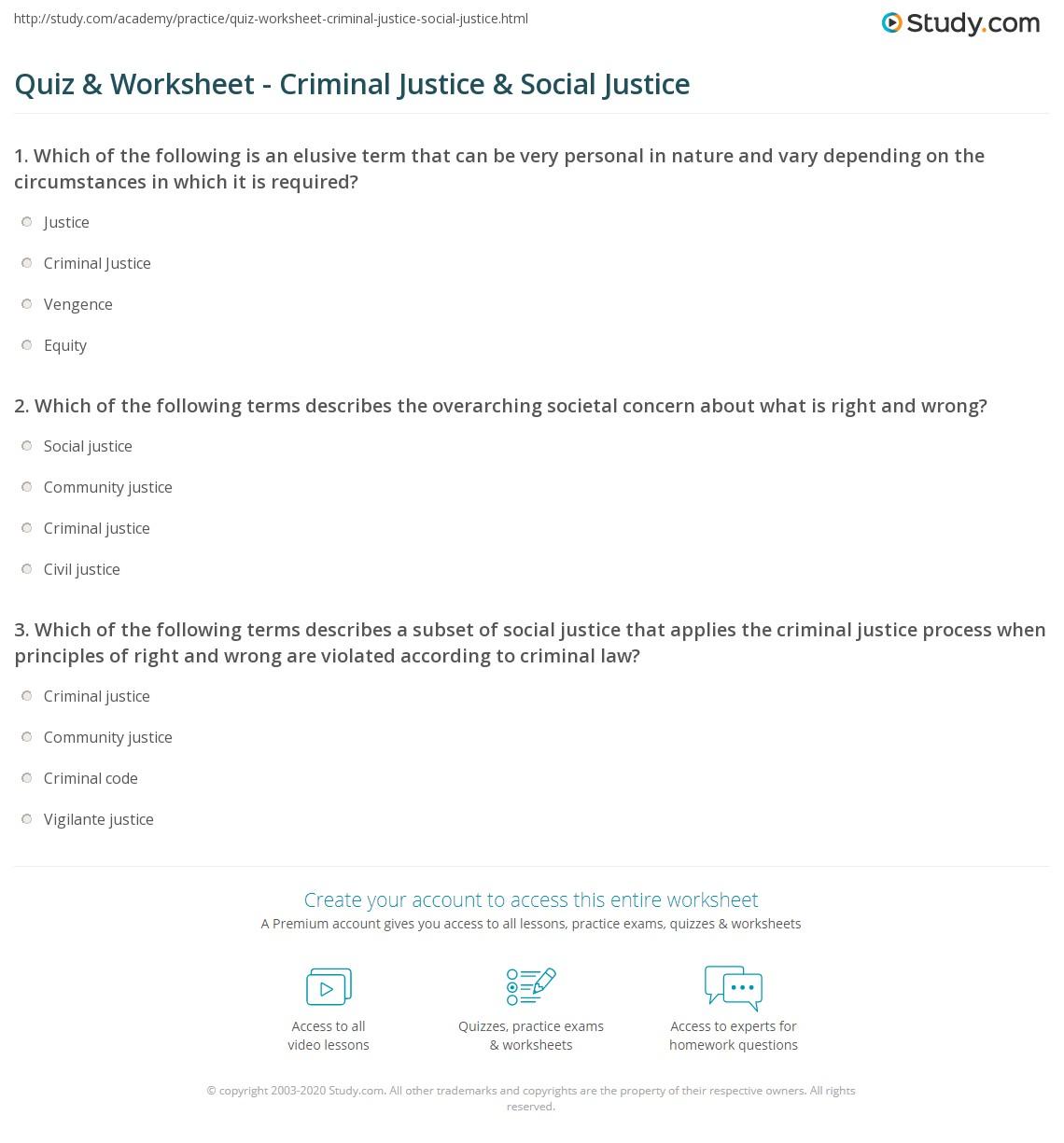Quiz worksheet criminal justice social justice study print criminal justice social justice the issues of equity fairness worksheet xflitez Images
