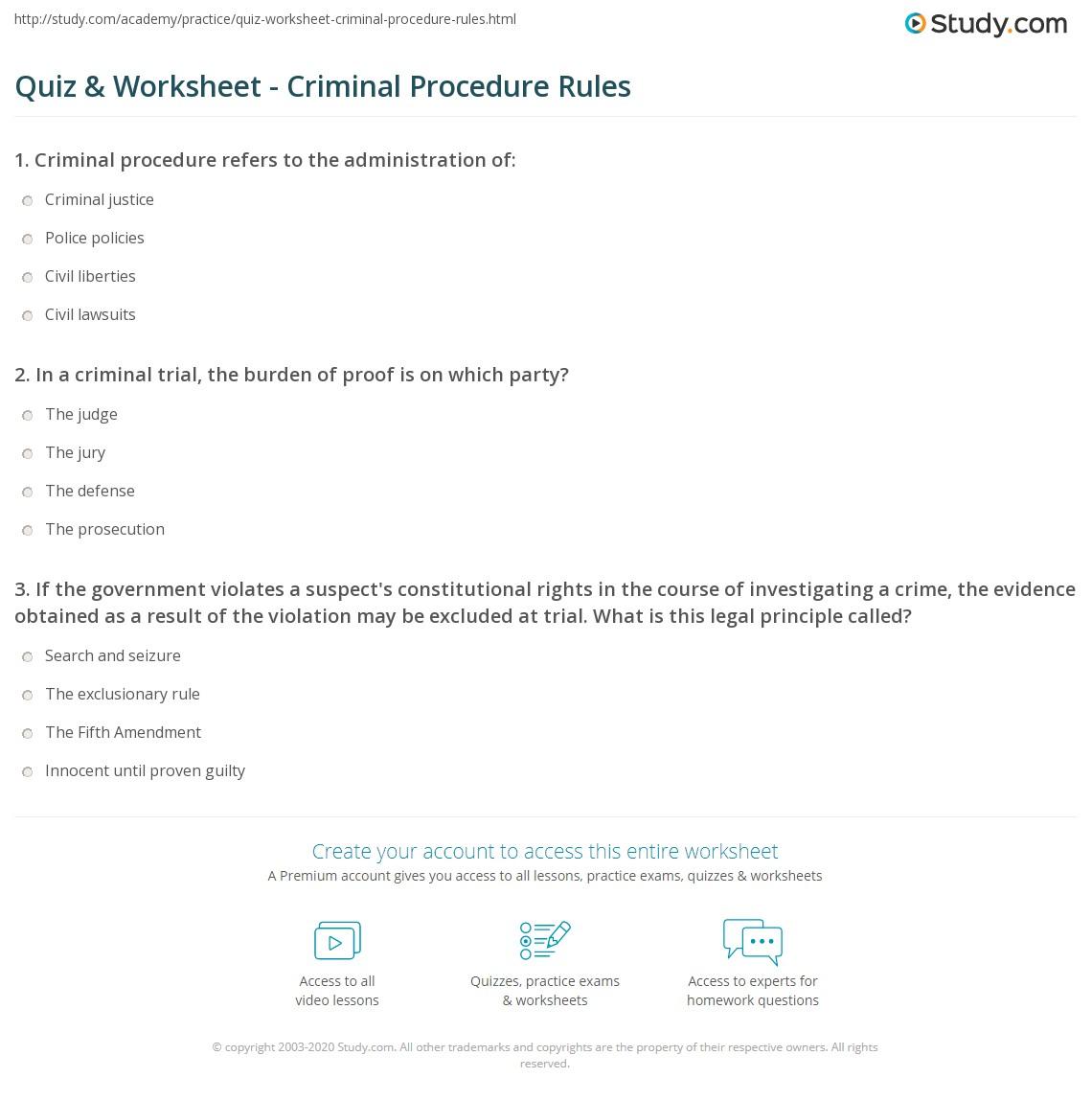 quiz worksheet criminal procedure rules. Black Bedroom Furniture Sets. Home Design Ideas
