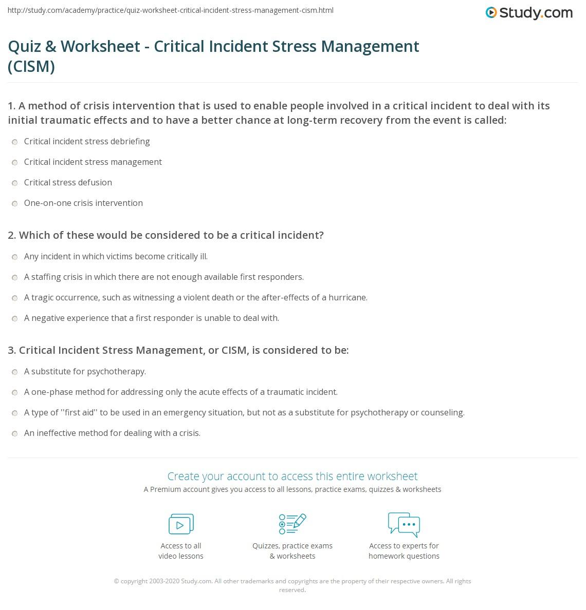 Quiz worksheet critical incident stress management cism print critical incident stress management definition application process worksheet 1betcityfo Choice Image
