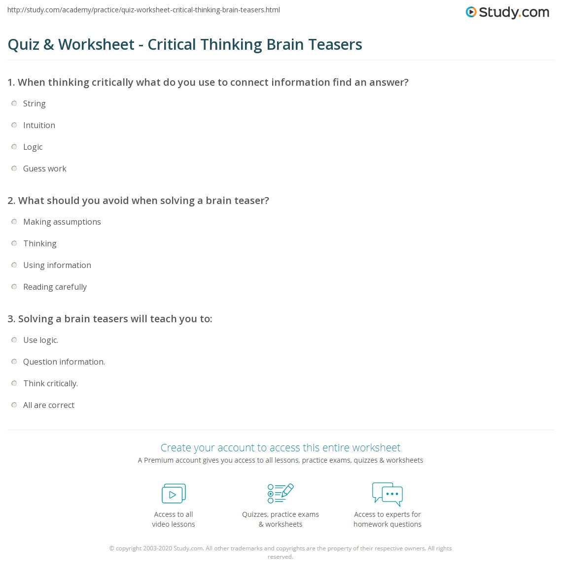 worksheet Brain Teaser Answers Worksheets quiz worksheet critical thinking brain teasers study com print worksheet