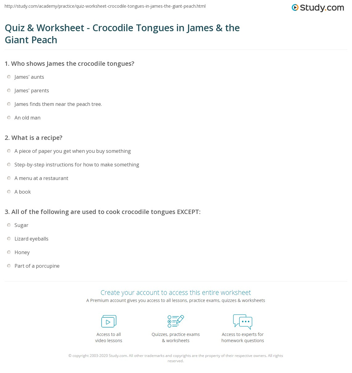 Quiz & Worksheet - Crocodile Tongues in James & the Giant Peach  education, alphabet worksheets, free worksheets, worksheets, multiplication, and grade worksheets James And The Giant Peach Worksheet 1415 x 1140
