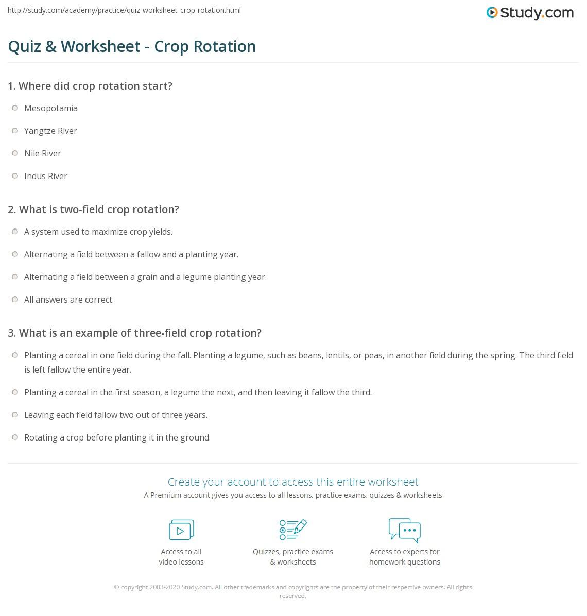 Quiz & Worksheet - Crop Rotation | Study.com