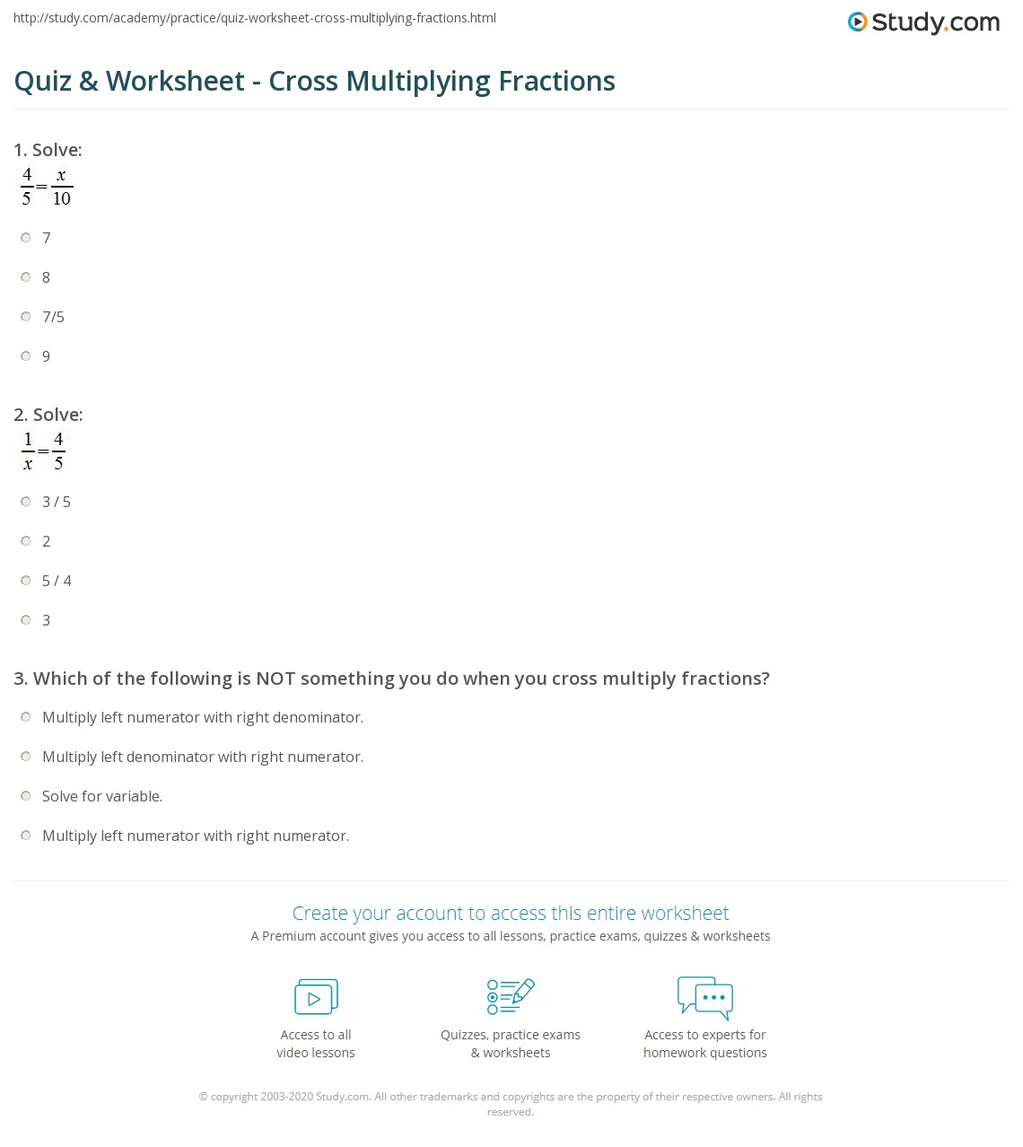 Quiz  Worksheet  Cross Multiplying Fractions  Studycom Print How To Do Cross Multiplication Of Fractions Worksheet