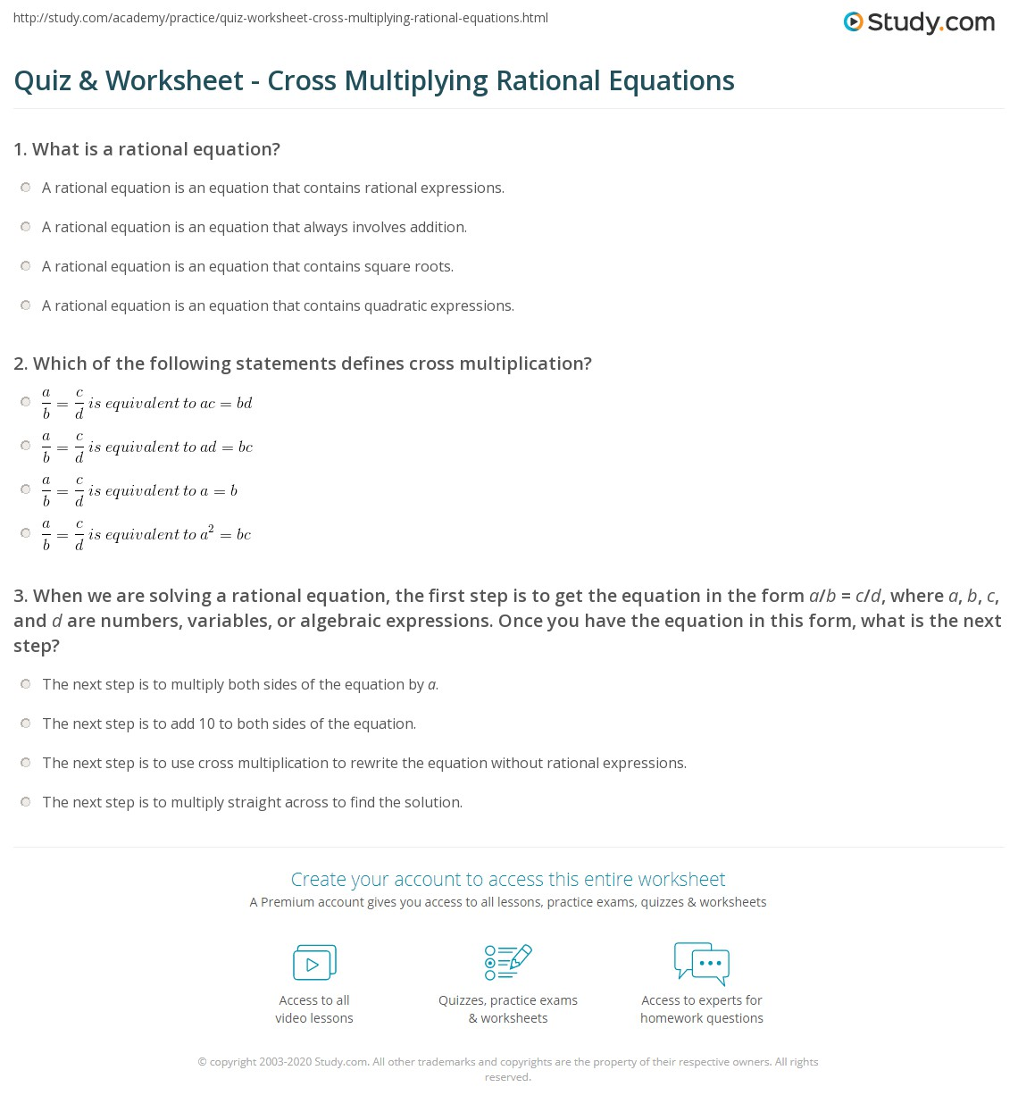 Worksheets Solving Algebraic Expressions Worksheet quiz worksheet cross multiplying rational equations study com print solving a equation with multiplication worksheet
