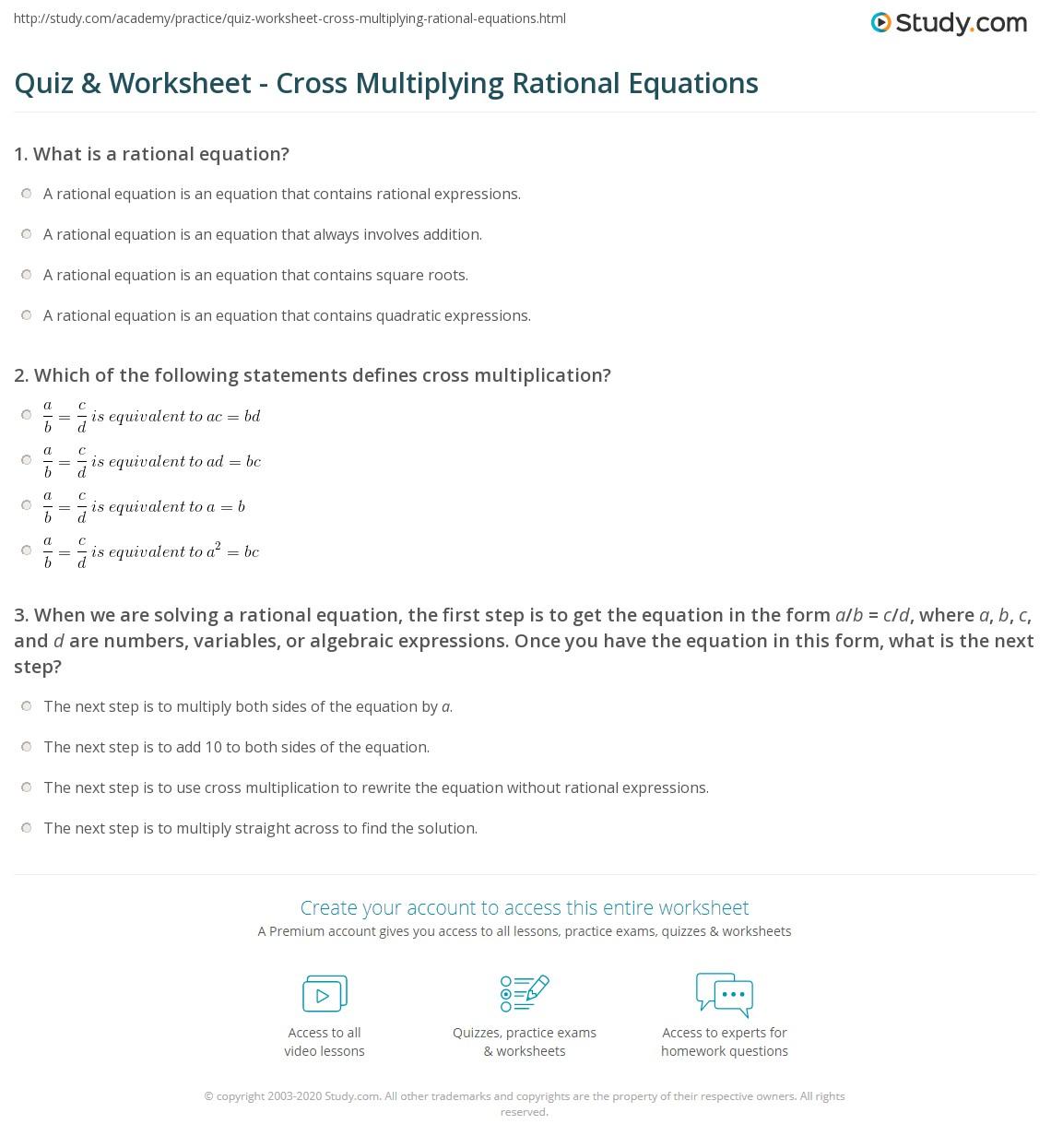 Quiz Worksheet Cross Multiplying Rational Equations – Rational Equations Worksheet