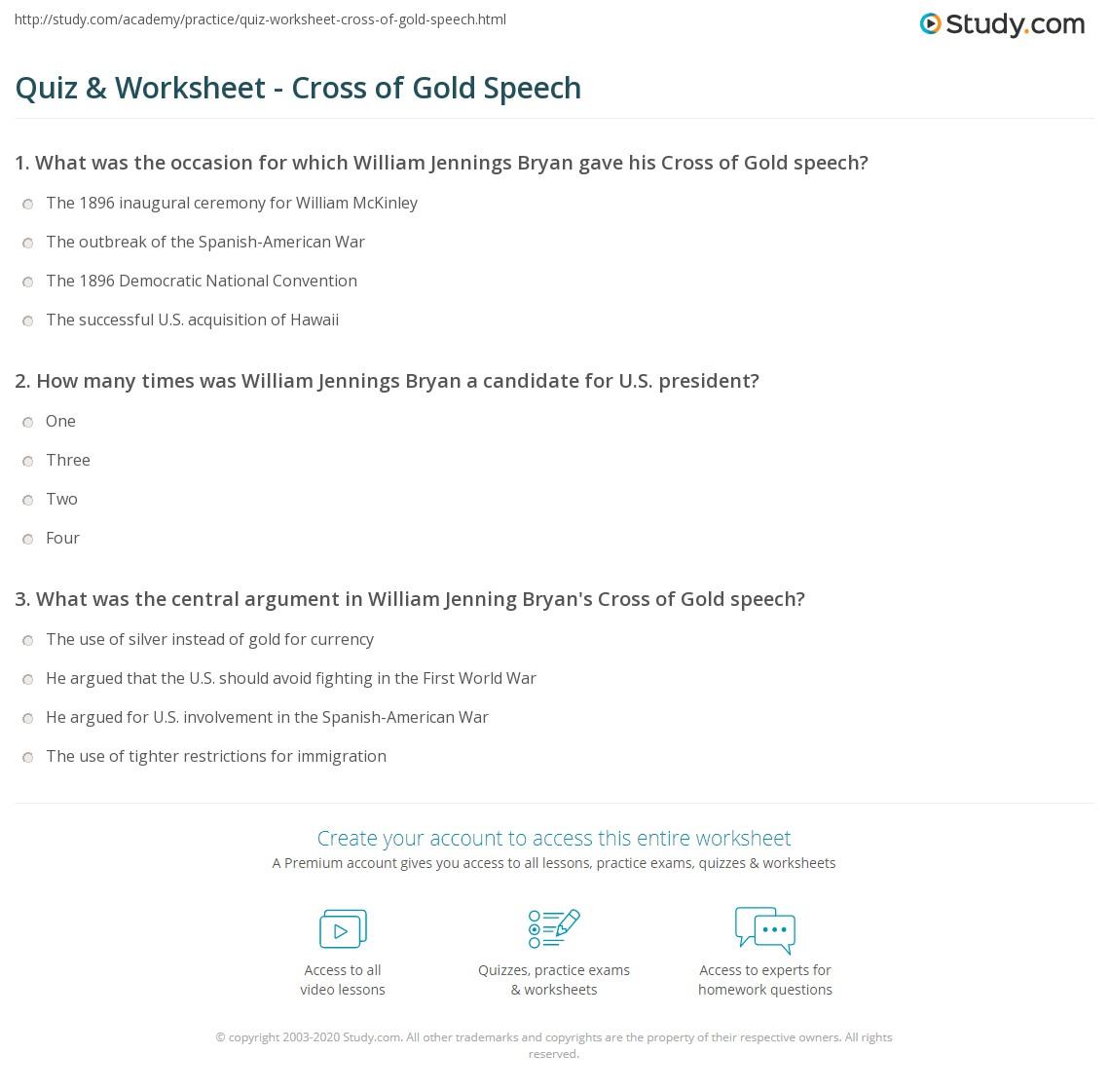 Quiz & Worksheet - Cross of Gold Speech | Study.com