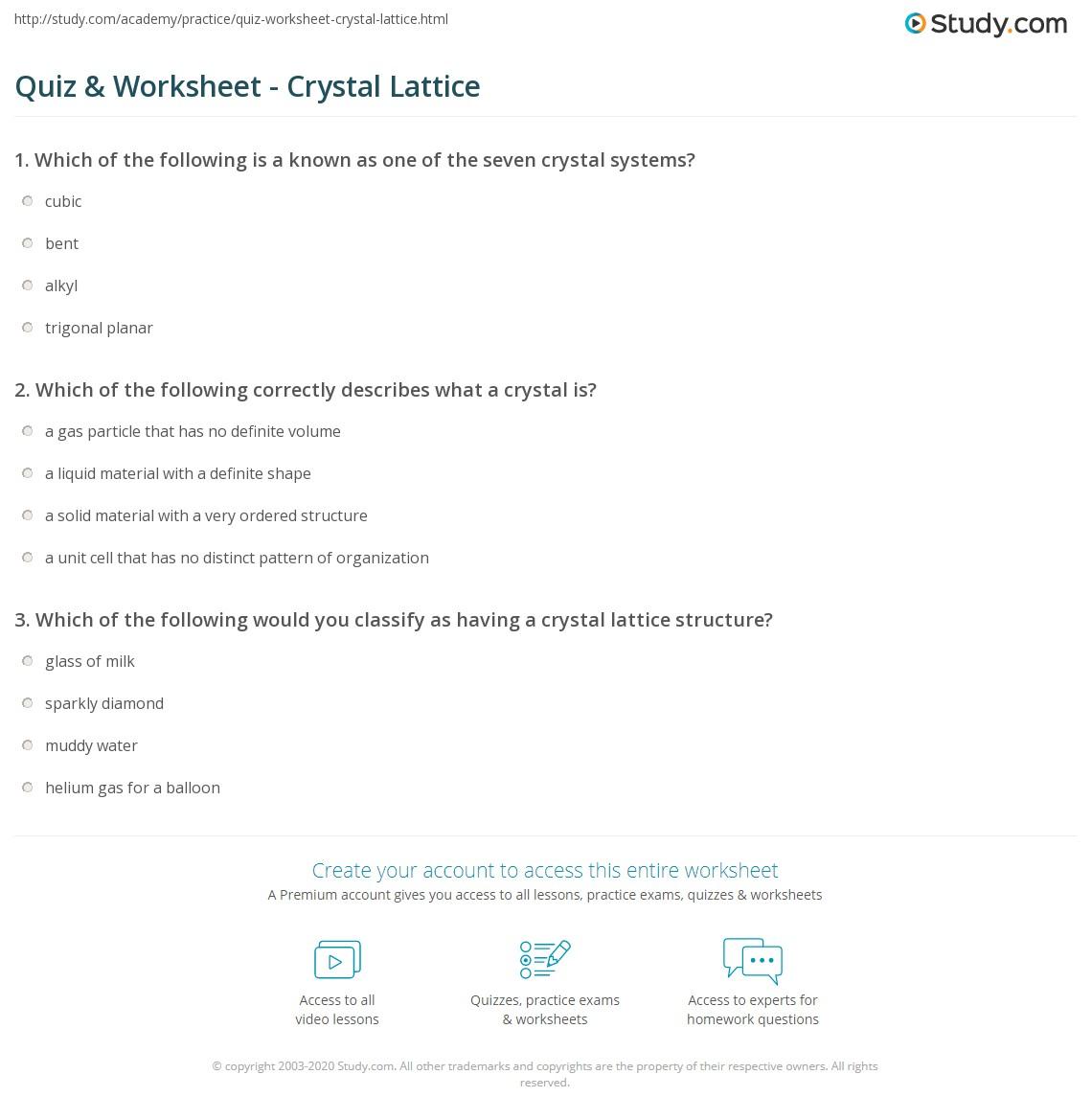 Quiz & Worksheet - Crystal Lattice | Study com