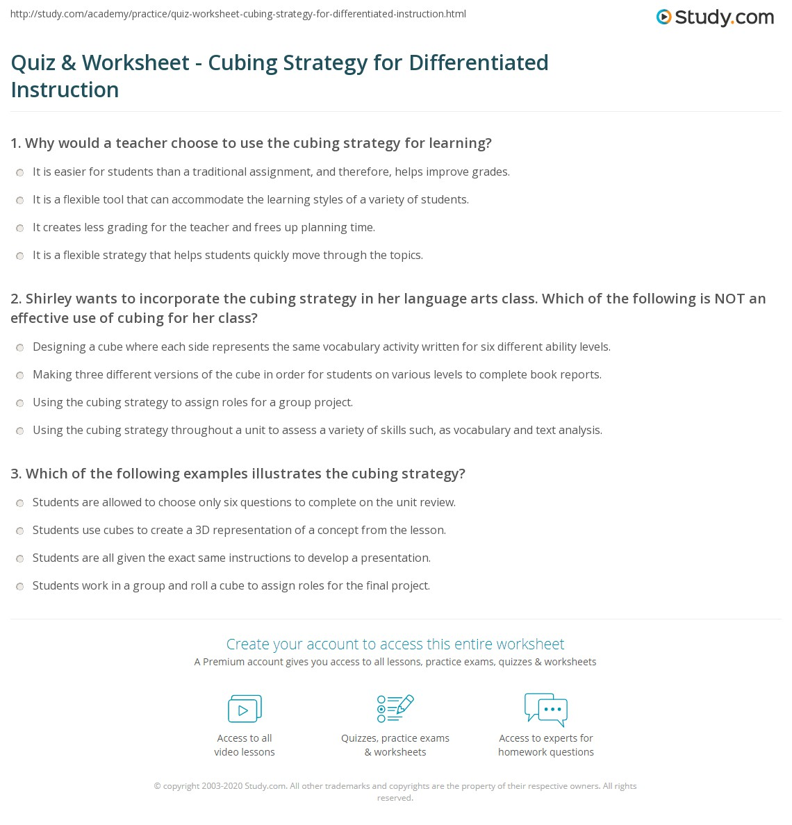 Quiz Worksheet Cubing Strategy For Differentiated Instruction
