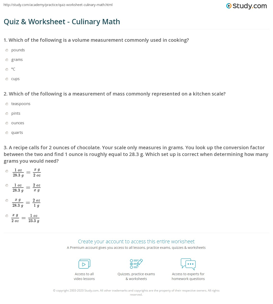 Worksheets Culinary Arts Worksheets quiz worksheet culinary math study com print kitchen measuring conversions worksheet