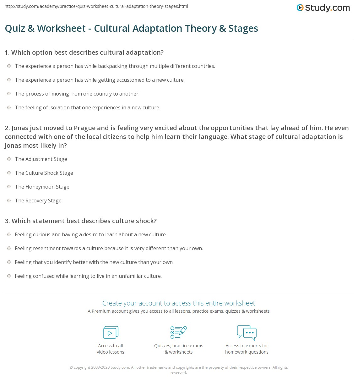 worksheet Adaptations Worksheet quiz worksheet cultural adaptation theory stages study com 1 jonas just moved to prague and is feeling very excited about the opportunities that lay ahead of him he even connected with one