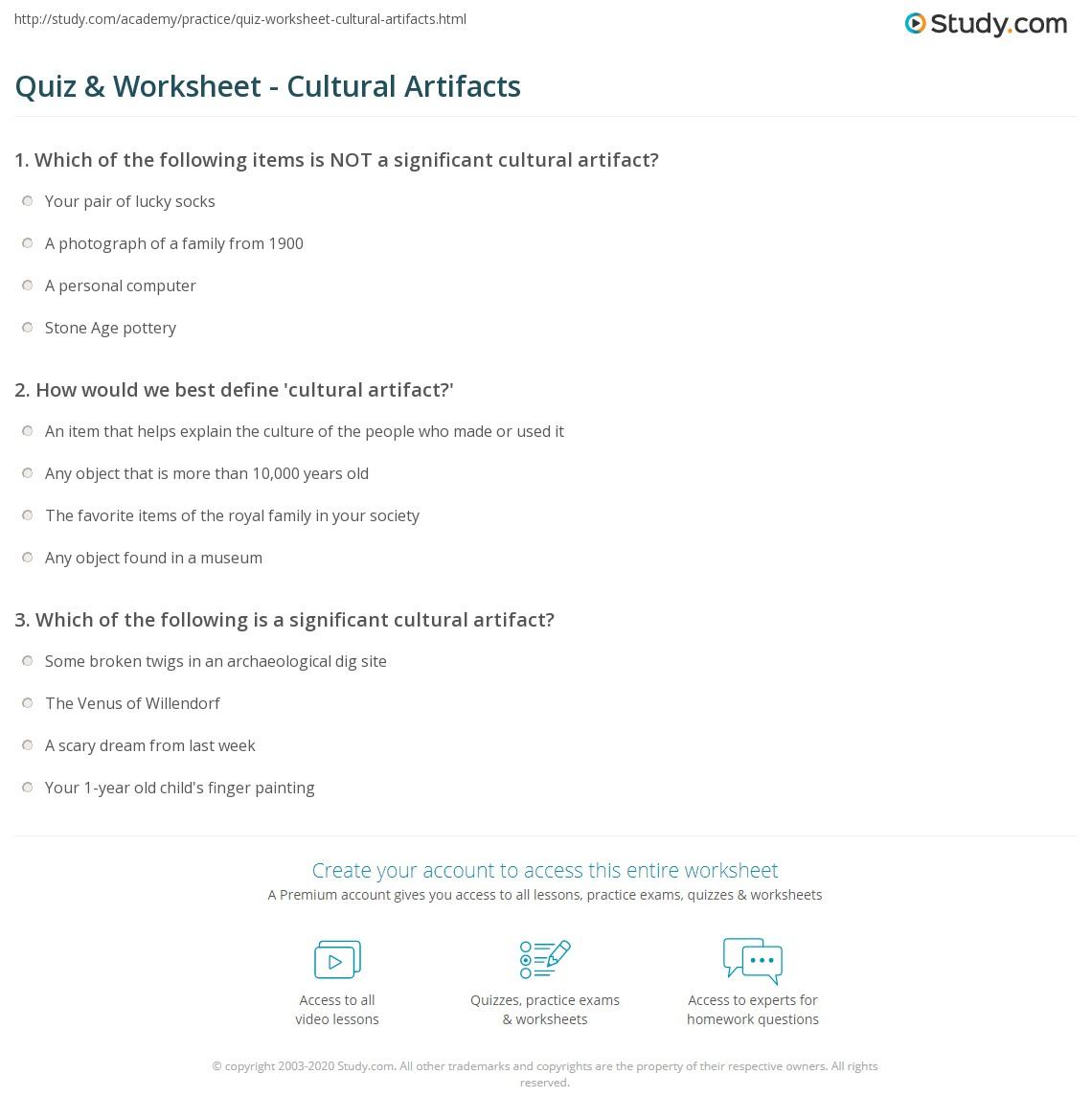 Quiz Worksheet Cultural Artifacts Study