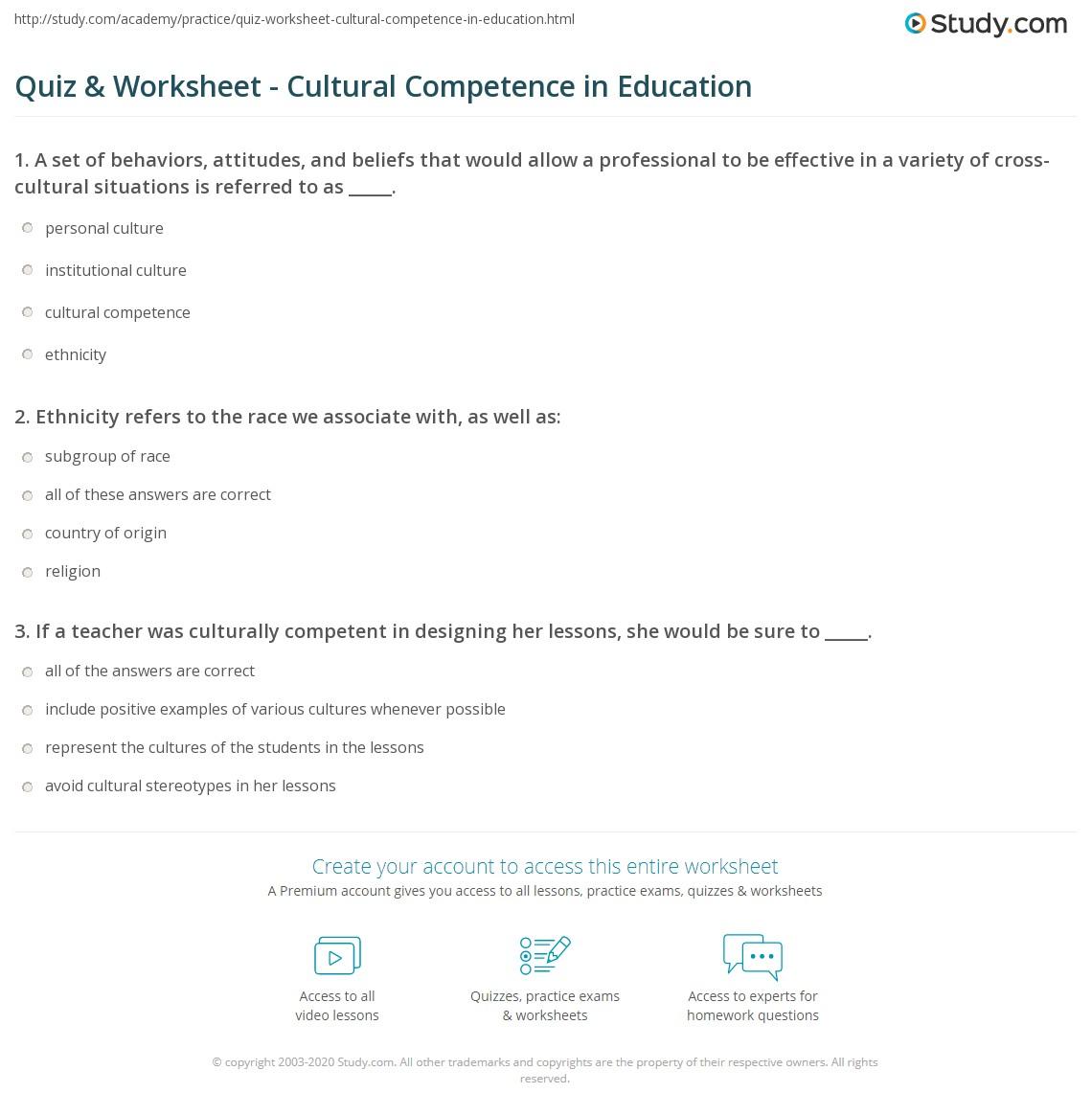 quiz worksheet cultural competence in education. Black Bedroom Furniture Sets. Home Design Ideas