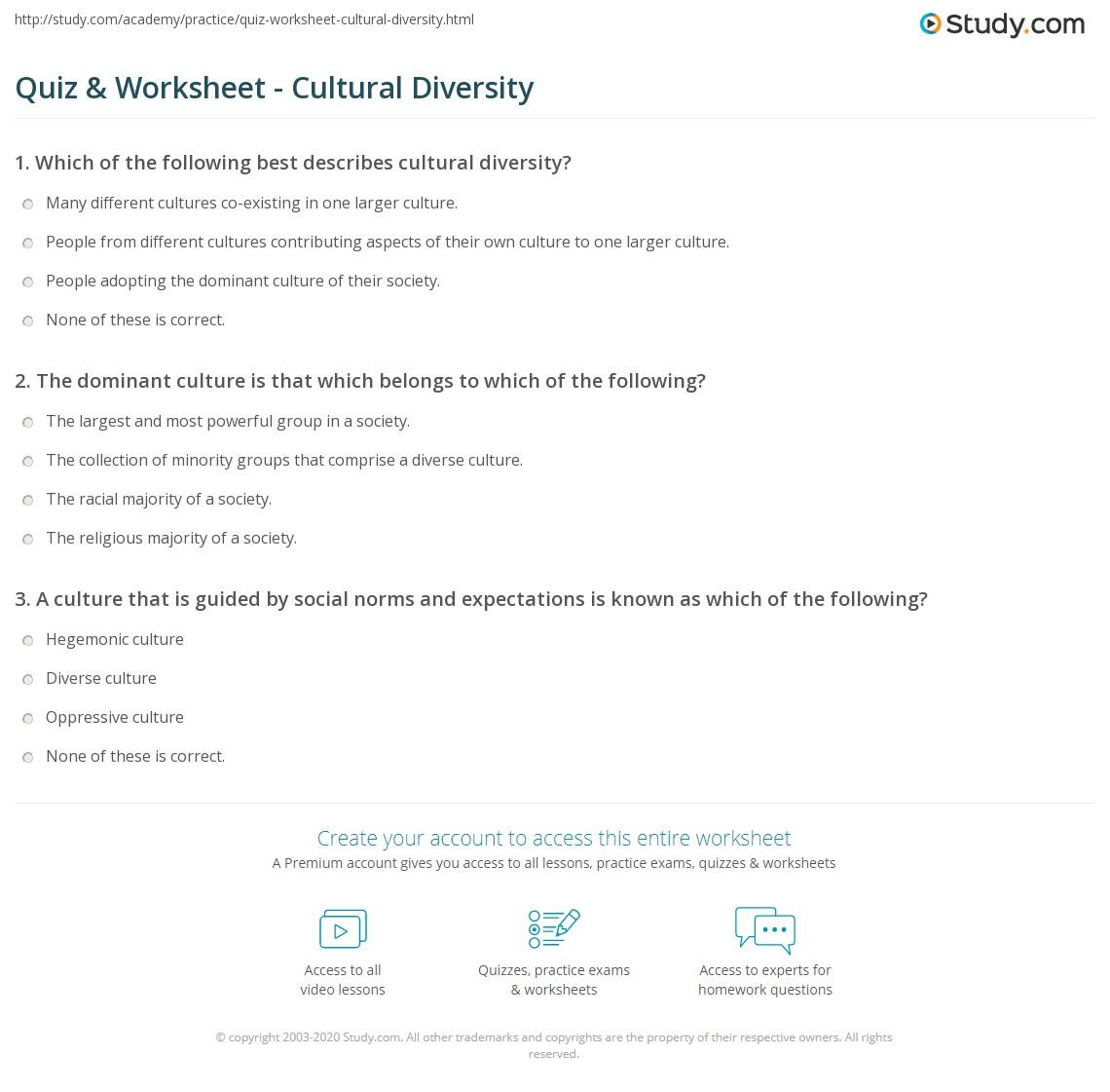 Worksheets Diversity Worksheets quiz worksheet cultural diversity study com print defining worksheet