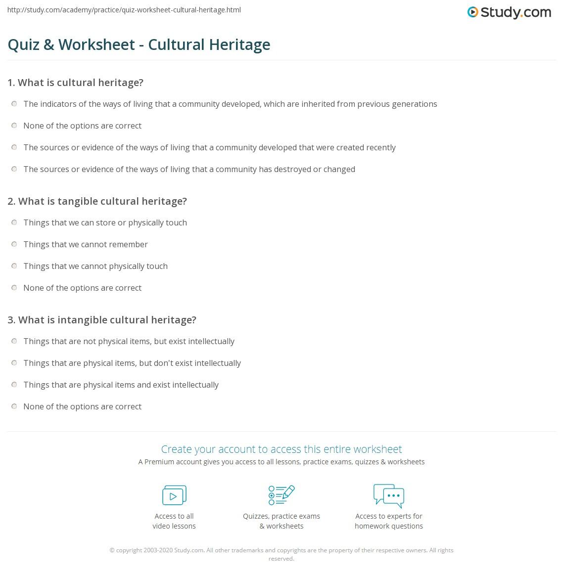 quiz & worksheet - cultural heritage | study
