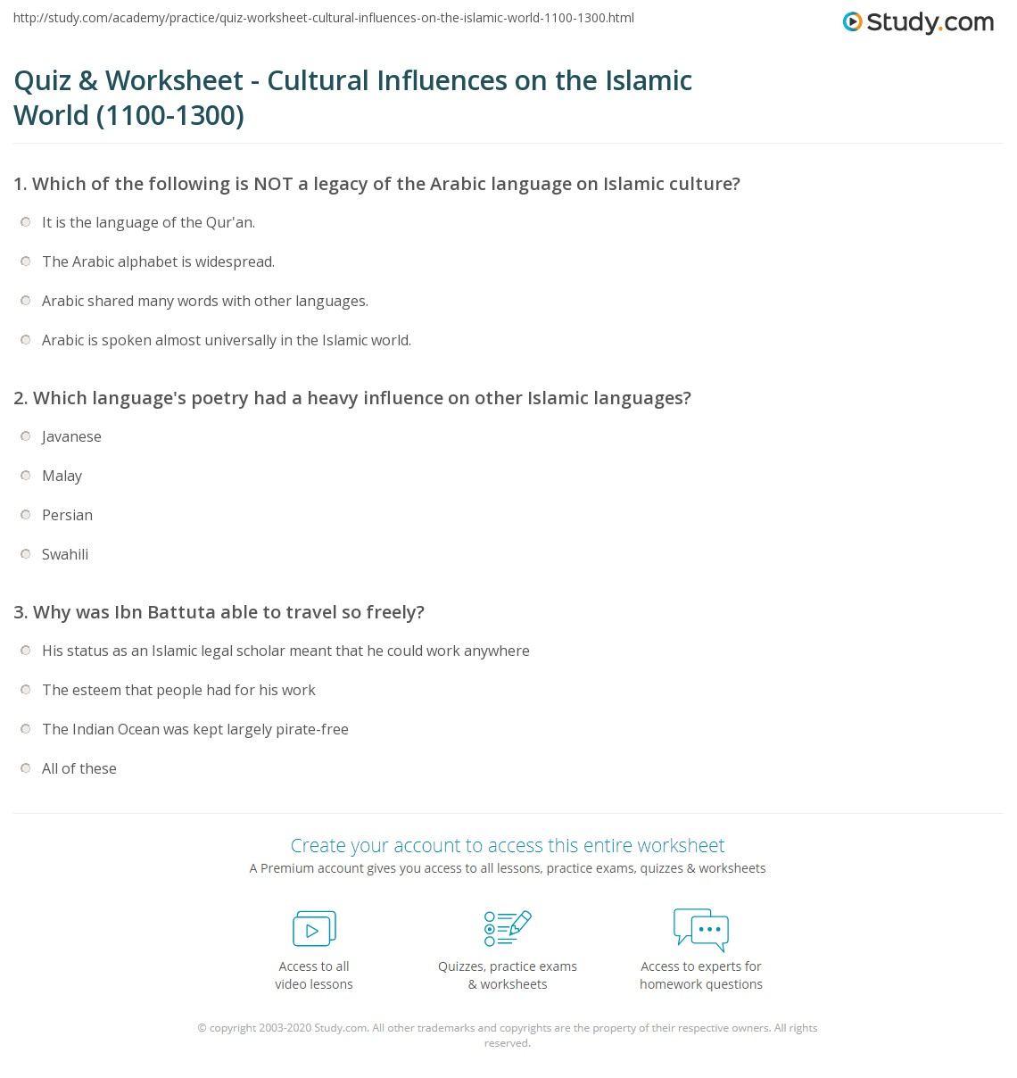 Quiz worksheet cultural influences on the islamic world 1100 which languages poetry had a heavy influence on other islamic languages publicscrutiny Image collections