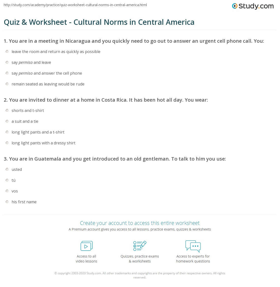 Quiz & Worksheet - Cultural Norms in Central America | Study com