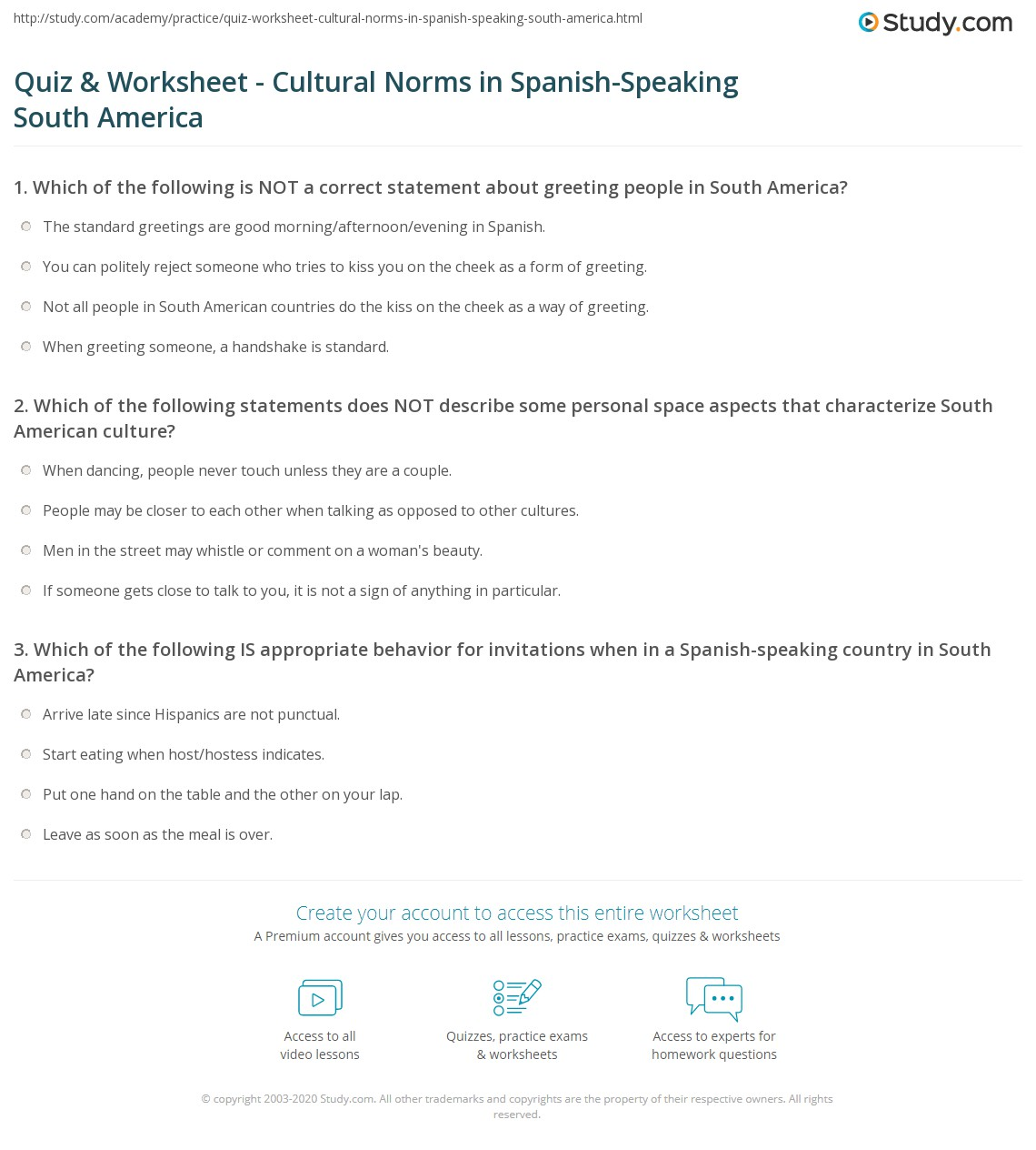 Quiz Worksheet Cultural Norms In Spanish Speaking South America