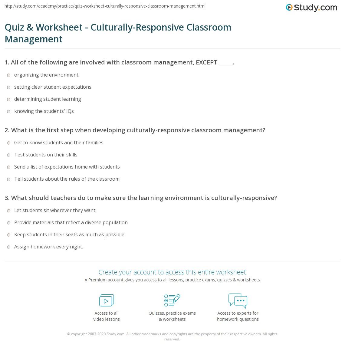 quiz worksheet culturally responsive classroom management print culturally responsive classroom management strategies worksheet